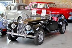 MG TF. BERLIN, GERMANY - AUGUST 12, 2014: Classic british roadster MG TF in the museum of vintage cars Classic Remise stock photos