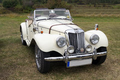 MG TF british sports car. Classic 1955 MG TF 1500. Frontal view. Taken at Karpatia Horse Trials, Cantacuzino Estate in Floresti, Romania, october 10-12, 2014 royalty free stock image