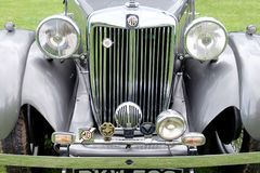 MG VA Classic car. Front view of an old classic MG VA automobile, shown at the Hanbury Country show 2017 Royalty Free Stock Image
