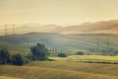 mgły domu krajobrazu ranek sylwetki drzewa Zdjęcie Stock