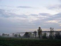 mgły domu krajobrazu ranek sylwetki drzewa Obrazy Stock