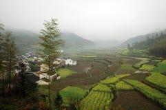 mgły ranek wioska Obraz Royalty Free