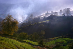 mgły wiejskiego krajobrazu myst Fotografia Stock