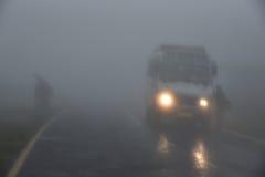 Mgła Halna droga Zdjęcia Stock