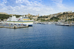 Mgarr Harbour in Gozo - Malta. Entrance to the main harbour of Gozo Royalty Free Stock Image