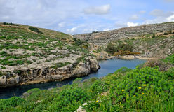 Mgarr ix-xini Bay,  Gozo. Mgarr ix-xini, a beautiful bay on the coast of Royalty Free Stock Photography