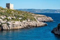 Mgarr Ix-Xini Bay Tower Gozo. Malta. stock images