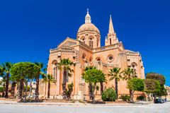 Mgarr, Malta - Gothic church in Gozo Island. Mgarr, Malta. Maltese gothic church of Ghajnsielem in Gozo island Stock Photos