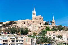 Mgarr, Malta - May 8, 2017: Ghajnsielem Parish Church at Gozo Island at Malta. Ghajnsielem Parish Church at Gozo Island at Malta Royalty Free Stock Photo
