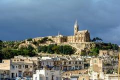 Mgarr village with Lourdes Church, Gozo, Malta Royalty Free Stock Photos