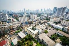 Mgławy widok Ratchathewi okręg w Bangkok, Tajlandia Zdjęcia Royalty Free