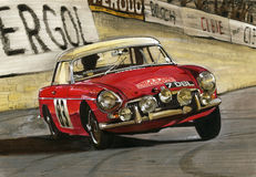 MGB Monte Carlo Rally. Illustration of a 7 DBL MGB Monte Carlo Rally 1964 Royalty Free Stock Image