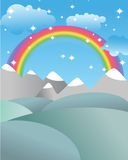 Mgic landscape with rainbow. Fields and meadows. Mountains and r Royalty Free Stock Images