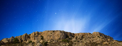 Mgiebah Cliffs. Under a clear starry sky stock photography
