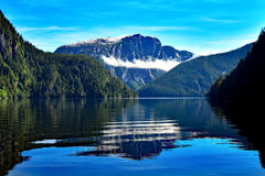 Mgliści Fjords odbicia obraz stock