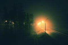 mglista śródnocna droga Zdjęcia Stock