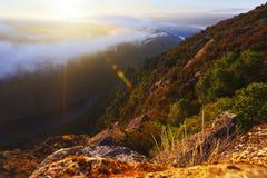 Mglisty świt nad lesistymi górami i rzeką Zdjęcia Stock