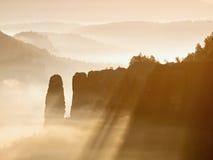 Mglisty budzić piękna czarodziejska dolina Szczyty skały żyłują śmietankową mgłę Obrazy Royalty Free