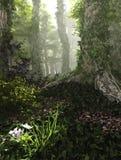 Mglisty las, 3d Komputerowe grafika ilustracji