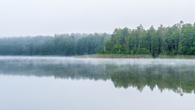 Mglisty ponury ranek blisko jeziora Fotografia Royalty Free