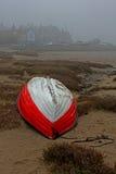 Mglisty ranek, Alnmouth plaża, Northumberland obrazy stock