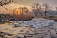 Mglisty ranek na rzece Zdjęcie Stock
