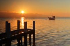 Mglisty ranku wschód słońca Zdjęcia Stock