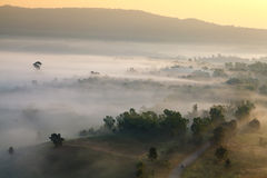 Mglisty ranku wschód słońca w górze przy Khao-kho Phetchabun, Thailan Obraz Stock