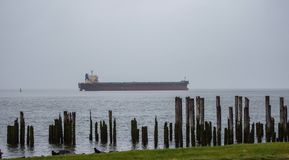 Mglisty statek przy morzem Obrazy Stock