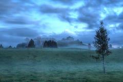 Mglisty uprawia ziemię krajobraz przy półmrokiem fotografia stock