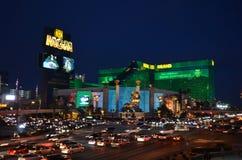 MGM Grand,小条,市区,夜,地标,城市 免版税库存图片