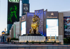 MGM Grand Golden lion at dusk Stock Image