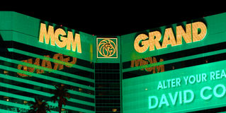 MGM Grand Las Vegas. Las Vegas, USA - April 22, 2012: The MGM Grand Las Vegas is one of the largest hotels in the world.  The main sign on Las Vegas Boulevard Stock Images