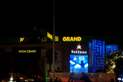 MGM Grand Las Vegas. Las Vegas, USA - December 23, 2015: The abstract reflections of casinos and luxury hotels MGM Grand and the nightclubs Hakkasan in a Stock Images