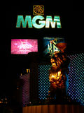 MGM Grand Sign and Lion. Las Vegas, USA - October 29, 2011: The MGM Grand Las Vegas is one of the largest hotels in the world. The main sign on Las Vegas royalty free stock images