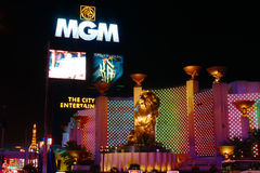 MGM Grand Sign and Lion. Las Vegas, USA - October 29, 2012: The MGM Grand Las Vegas is one of the largest hotels in the world. The main sign on Las Vegas royalty free stock photography