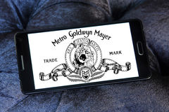 Mgm, Metro Goldwyn Mayer Studios logo. Logo of the american mgm, Metro Goldwyn Mayer Studios on samsung mobile phone stock images