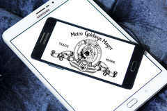 Mgm, Metro Goldwyn Mayer Studios logo. Logo of the american mgm, Metro Goldwyn Mayer Studios on samsung mobile phone on samsung tablet stock images