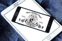 Mgm, Metro Goldwyn Mayer Studios logo. Logo of the american mgm, Metro Goldwyn Mayer Studios on samsung mobile phone on samsung tablet Stock Images