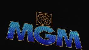 MGM sign Las Vegas at night stock footage