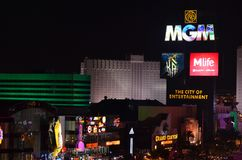 MGM Uroczysty, Las Vegas, noc, miasto, obszar wielkomiejski, elektroniczny signage Fotografia Royalty Free
