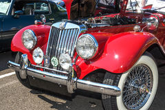 1954 MGTT front view. Front view of a 1954 restored and customized MGTT at a August, 2014 classic car show in Washington, State Royalty Free Stock Photography
