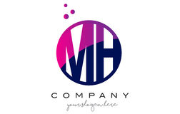 MH M H Circle Letter Logo Design avec Dots Bubbles pourpre Images libres de droits