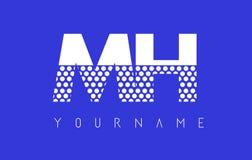 Mh M H Dotted Letter Logo Design con el fondo azul Imagen de archivo libre de regalías
