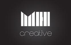 MH M H Letter Logo Design With White et lignes noires Photos stock