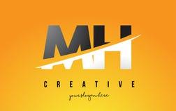 MH M H Letter Modern Logo Design avec le fond jaune et le Swoo illustration stock