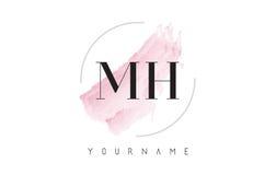 Mh M H Watercolor Letter Logo Design con el modelo circular del cepillo Fotos de archivo