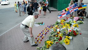 MH17 memorable memorial, Embassy of the Netherlands (Kiev), stock footage
