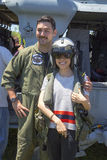 MH-60S helicopter pilot taking picture with spectator countermeasures demonstration during Fleet Week 2014 Royalty Free Stock Image