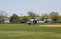 MH-60S helicopters from Helicopter Sea Combat Squadron Five with US Navy EOD team taking off Royalty Free Stock Images